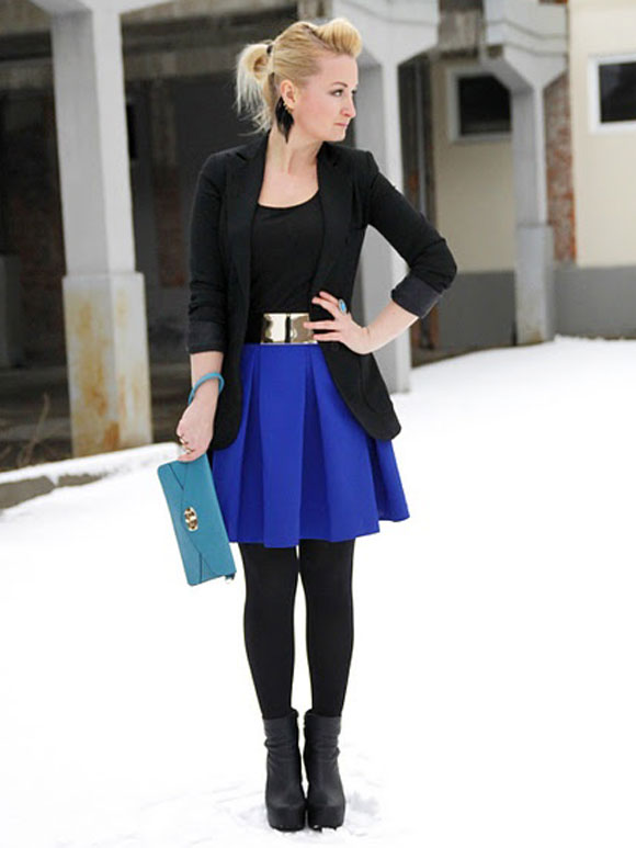 Skater skirt with black tights