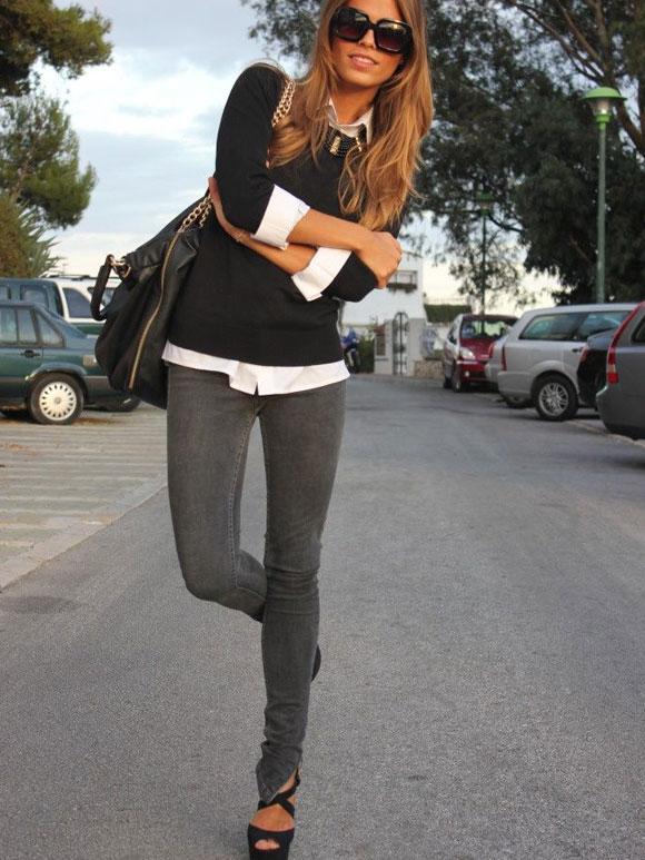 Grijze jeans dames combineren