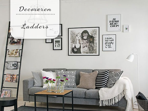 Decoratieladder xenos houten ladder decoratie decoreren bobbie s home sfeerhaarden op bio - Studio decoratie m ...