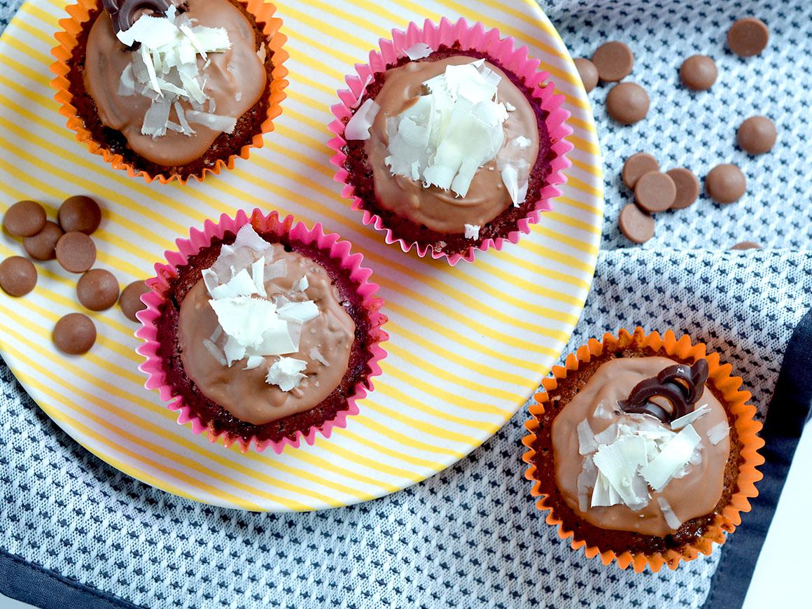 Chocoladecupcakes met karamel