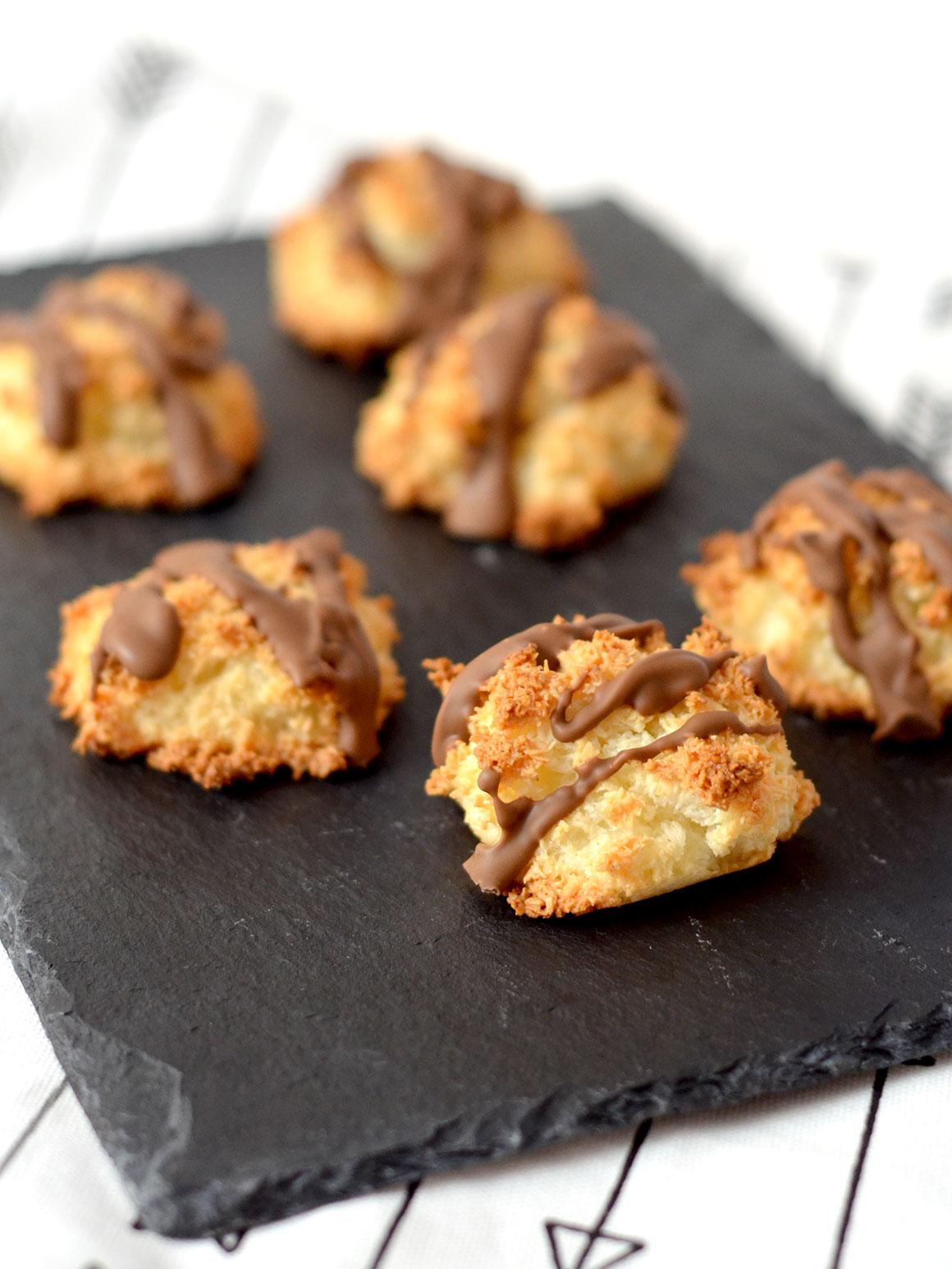 Te lekkere kokosmakronen met chocola
