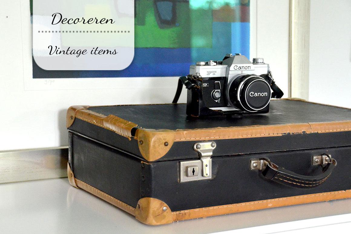 6x Vintage gebruiksvoorwerpen als decoratie