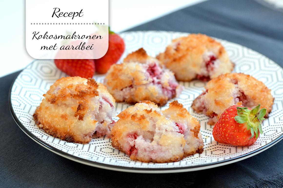 Kokosmakronen met aardbeien