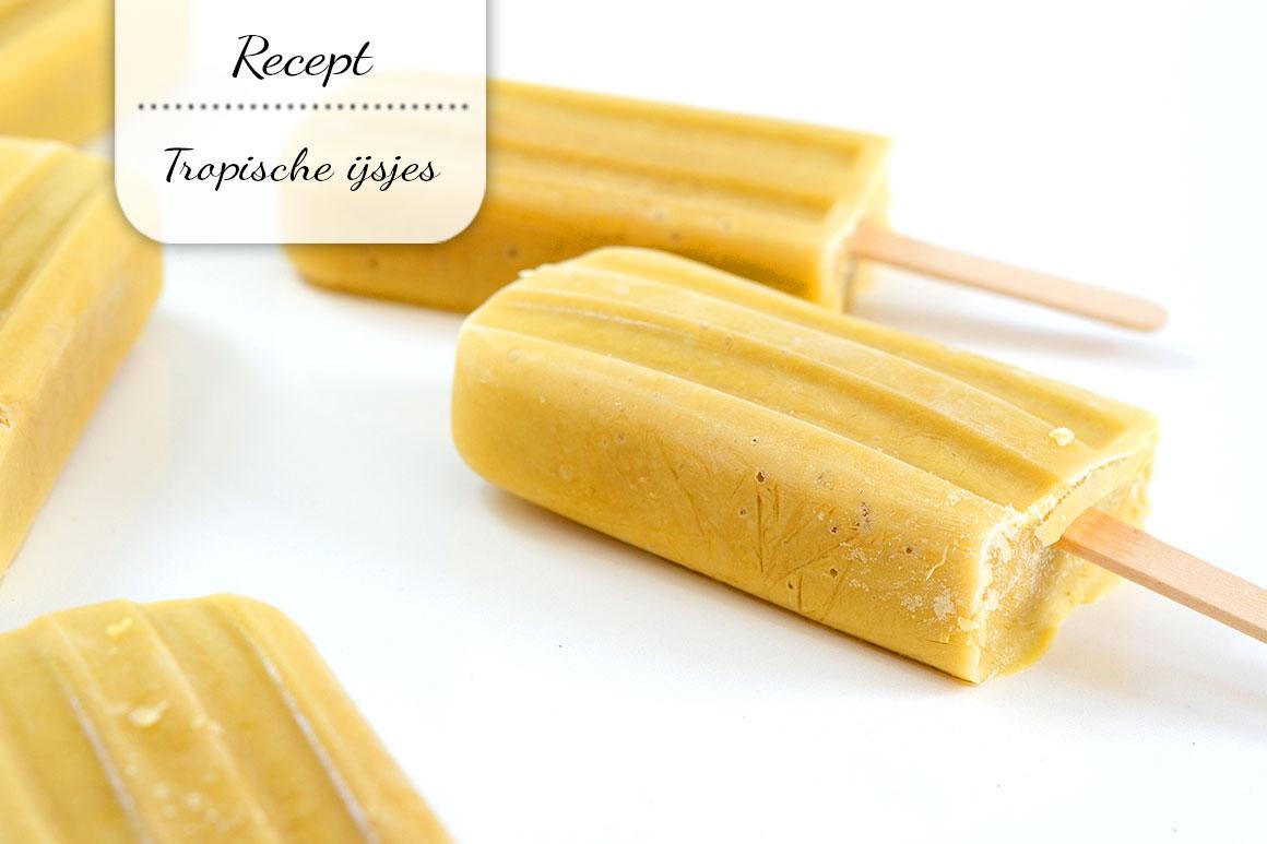 Tropische ijsjes met ananas en mango